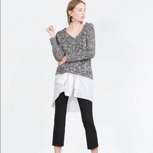 Zara Black and White Speckled Sweater.